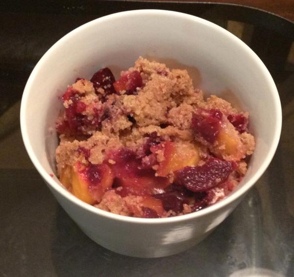 Gluten-free Mango Cherry Crumble