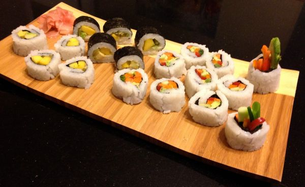 Gluten-free Veggie Sushi Made with Slice of Rice
