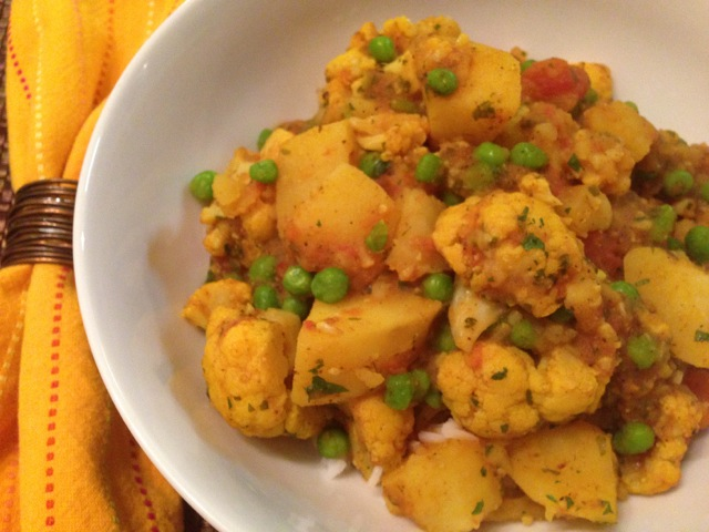 Cauliflower Potato Pea Curry