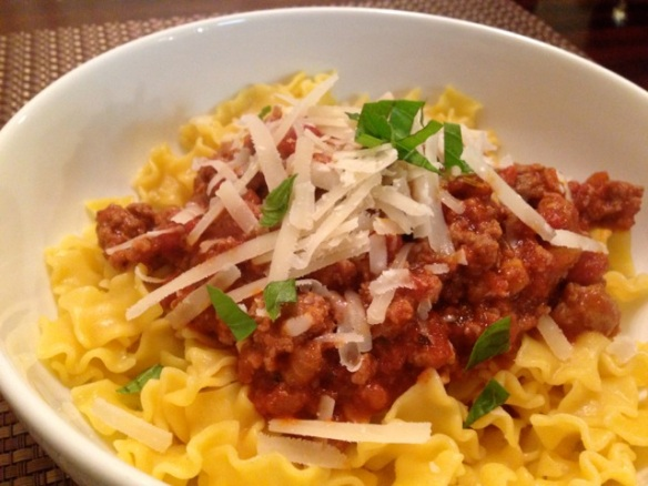 Meat Sauce with Mini Lasagna Noodles #glutenfree