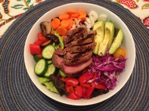 Grass-fed Steak Salad Loaded with Veggies