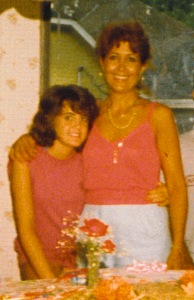 This was a picture of me and mom mid-teens (always hugging).  I went to the mall and independently got that horrible haircut and she was so mad at me!  But never stopped loving me.